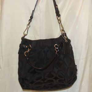 Coach Black Signature C Pattern Op Art Brooke